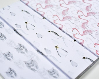 Animal Pattern Notebook // Journal //Blank // Cat // Flamingo // Penguin Pattern