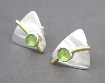 Peridot and Sterling Silver Triangle Post Earrings ~ Geometric Earrings ~ August Birthstone