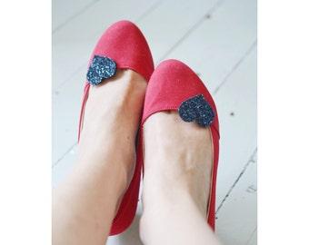 Navy Blue Shoe Clips, Glitter Heart Shoeclips, Flower Girl Shoes, Dark Blue Pink Shoe Accessory