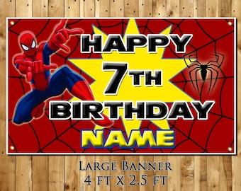 Spiderman personalized birthday party banner decoration milestone keepsake