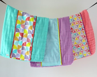 Baby Burp Cloth Gift Set of 3, Colorful Pinwheels