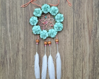 "3"" Mint Rose and Coral with Gold Glitter Dream Catcher"