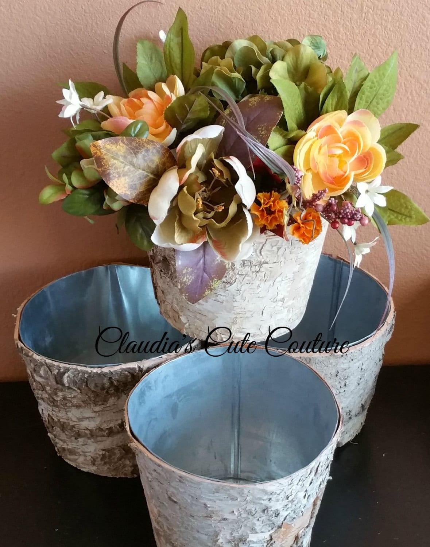 Birch bark round vase wedding centerpiece rustic baby