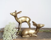 Vintage Brass Deer Home Decor Woodland Christmas Cabin