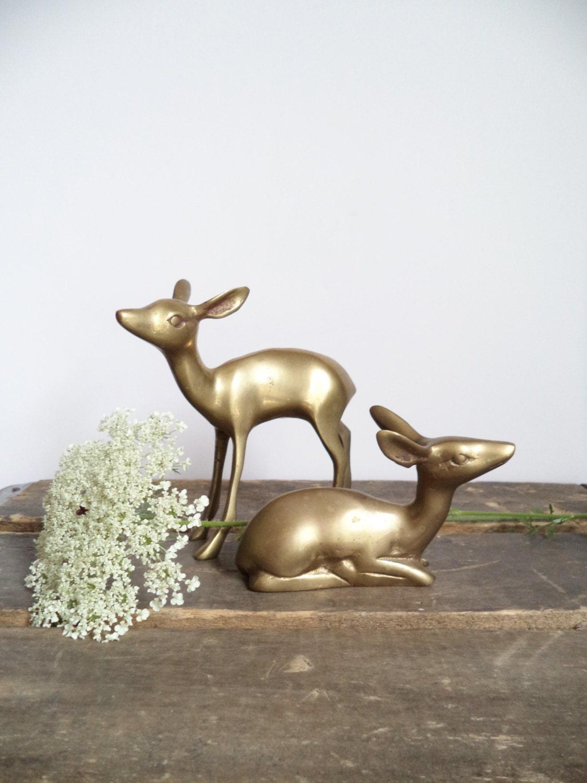 Vintage Brass Deer Home Decor Woodland By Sparklesandsass