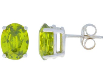 Peridot Oval Stud Earrings .925 Sterling Silver Rhodium Finish