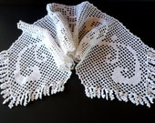 Fringed Table Runner   , Vintage Handmade Crochet, All White Decor