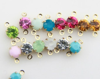 12 pcs of rhinestone 5mm with brass setting gold two loop charm-1160-you can choose color