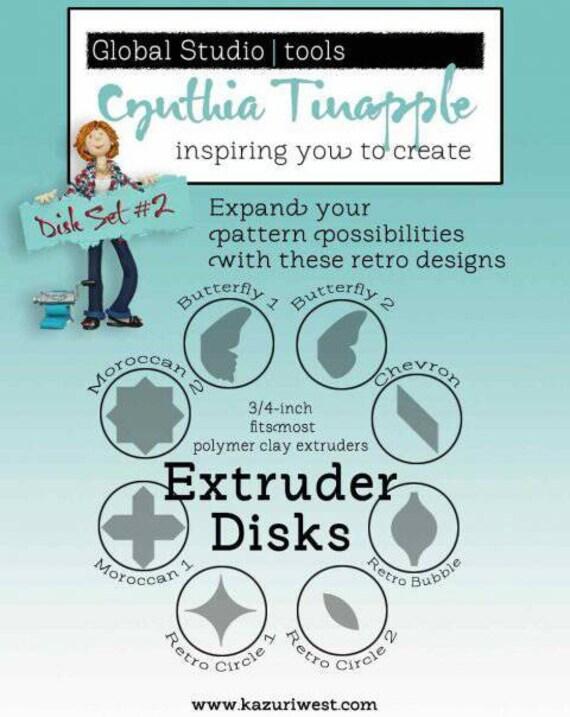 Cynthia Tinapple's steel designer Extruder Discs.  extruder disc set volume 2 retro, 8 piece