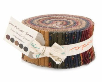 Sunflower Song Jelly Roll from Kansas Troubles Quilters for Moda