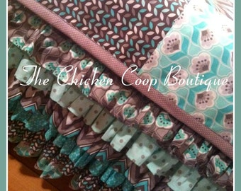 Baby Girls Crib set Modern Bedding  Mint, Gray, & Floral 6 tier Ruffle Skirt READY TO SHIP