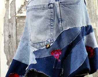 Upcycled Recycled Jean Skirt Upcycled Clothing Wearable Art by Curiousorangecat