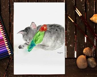 Original Watercolor, Cat and Parrot, Watercolor Cat, Cat Painting, Cat Art, Parrot Painting, Watercolor Parrot, Nursery Wall Art, Kids Room