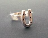 Personalised Horseshoe Ring, Horseshoe Ring with Name, Silver Horseshoe Ring, Lucky Horseshoe Ring, Horse Lovers Gift, Equestrian Ring