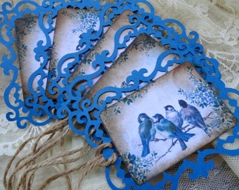 Handmade Blue Bird Gift Tags Set of 5