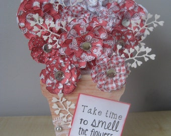 Hand Decorated Fresstanding Mdf 'Take time to smell the flowers' Floral Flower Pot Keepsake **Free P&P**
