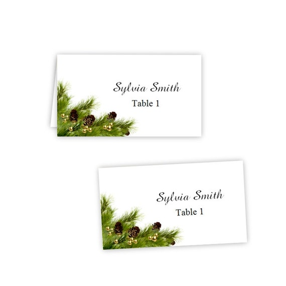 Pine cones folded table tent flat place card templates for Free tent card template