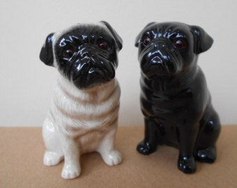 Pug Dog Salt and Pepper Shaker Pug Dog Salt and Pepper Hand Painted Stunning Supplied Gift Boxed
