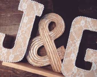 Rustic Wedding Initial Letters | Lace, Burlap & Pearl |