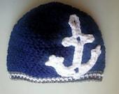 Skipper Hat, Anchors Hat, Crochet, TULA Hat, Babywearing Hat, Anchor Beanie, Sea Hat, Pirate Hat, Crochet Hat, Handmade Hat, Crochet Beanie