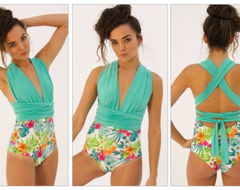 Elegant/tropical one piece multiuse swimsuit