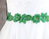 Green Flower Lace with Kelly Green Ribbon Sash Belt, Bridal Green Sash, Bridesmaid Sash, Flower Girl Green Sash