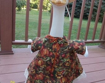 Autumn Goose Dress w. Pumpkins, Apples, and Sunflowers