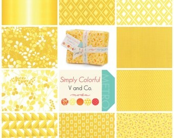 Simply Colorful Yellow Fat Quarter Bundle by V and Co. for Moda SKU 10840ABY