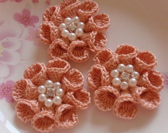 3 Crochet  Flowers With Pearl And Rhinestone In 2 inches YH -312-09