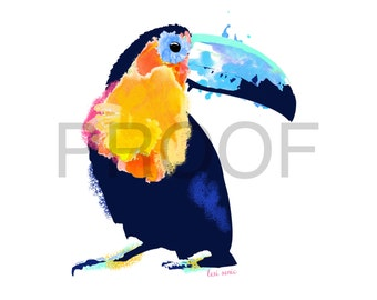 Toucan Watercolor || Toucan Art || Tropical Bird || Watercolor || Bird Watercolor