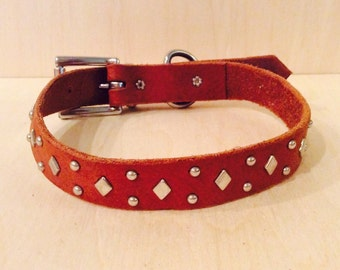 Handmade Leather Dog Collar with Silvery Diamond and Spot Accents
