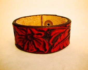 Leather Cuff Bracelet Hand Tooled Floral