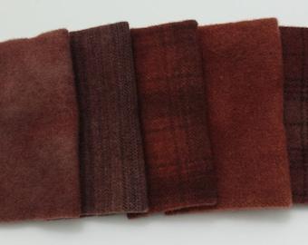 Reddish Brown Wool Bundle for Rug Hooking and Wool Applique