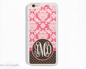 iPhone 6s Plus Case, iPhone 6 Case, iPhone 5s Case, iPhone 5c Case, Pink Damask & Brown, Monogram (035)