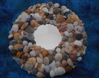 Handmade accent seashell mirror