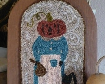 Punch Needle Embroidery 'Miss Pumpkin'   ~Paper or on Weavers Cloth