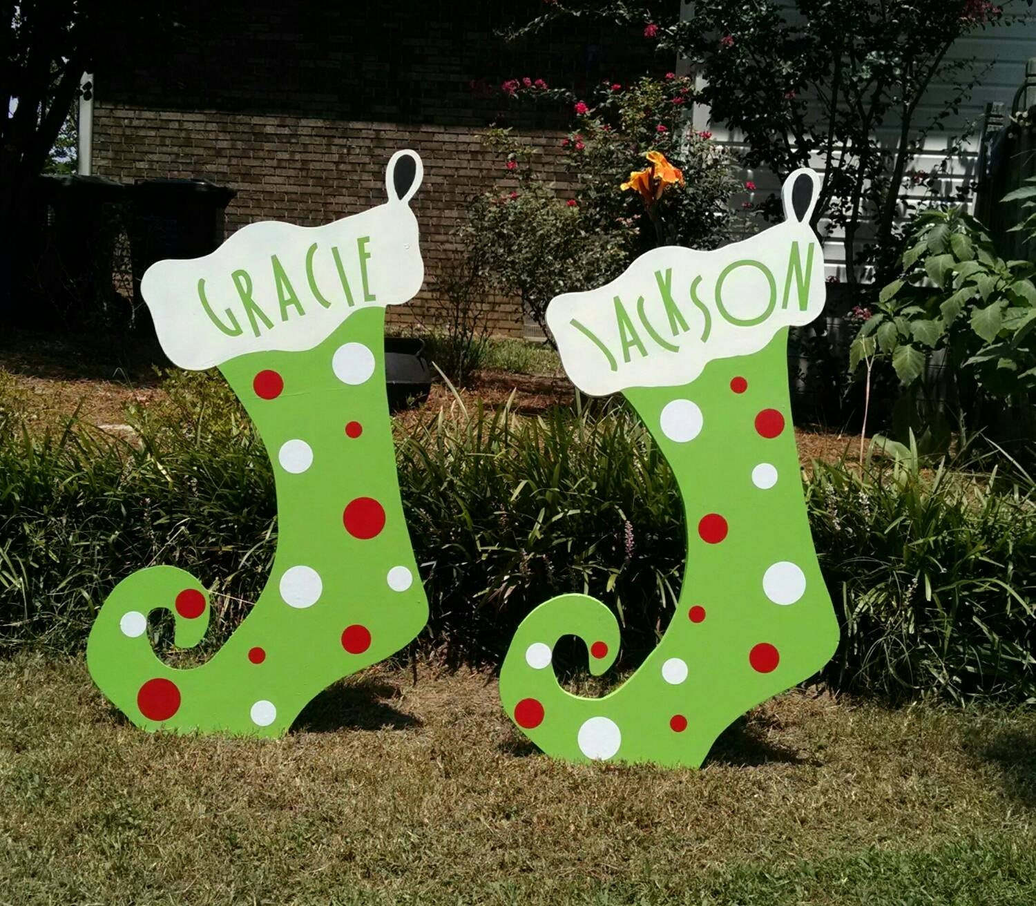 36 christmas stocking custom wood yard art by woodartandsuch Wooden outdoor christmas decorations