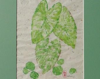 Original Plant Painting, Plant Gyotaku 9x12 with  mat