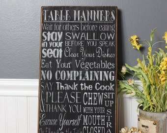 wooden sign,kitchen wall decor, table manners, subway art, wall hanging