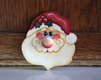 Christmas Santa Wood Ornament