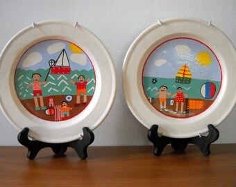 Retro beach plates, numbered in series