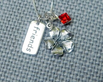 Sterling silver cherry blossom necklace,best friends necklace, birthstone jewelry