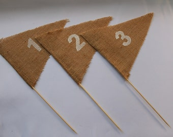 Wedding Table Numbers. Table Number Flags Sets of 10,20 ,30. Burlap Table Numbers. Various Colours.Event Table Numbers. Rustic Table Numbers