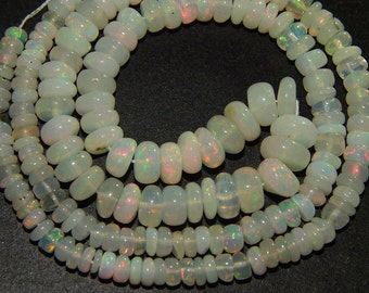 AAA Very Rare 100% Natural  Ethiopian Opal Gemstone Pink & Green Fire Smooth Rondelle Beads Size:- 4x7 MM Top Quality Gemstone Supplies