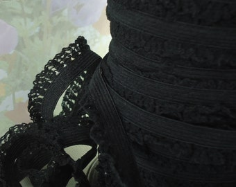 3yds Black Elastic Lace Trim with mesh ruffle 1/2 inch Stretch Trim Lingerie, Headbands, Diy Sewing Trim