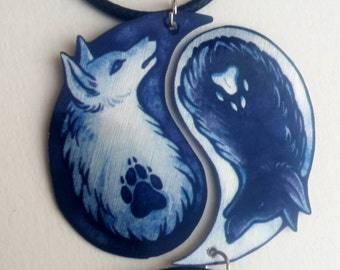 Black White Yin Yang Wolf Canine Dog Spiritual Duality Pair Bond Friendship Couple Valentine Metal Necklace Pendant