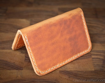 Two Pocket Card Wallet - hand stitched Horween leather - cognac