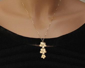 Plumeria Necklace / Gold Flower Necklace / Hawaiian Jewelry