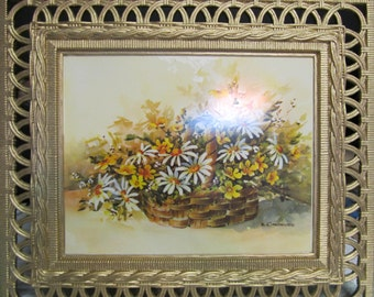 CLEARANCE! was 28.00 Vintage 1970's Large Plastic Wicker Frame with Yellow & White Daisy Floral Print on Hardboard, Up Cycled Gold Paint, T