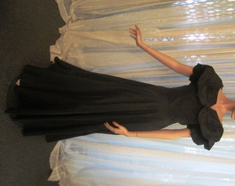 Vintage Classic Black Taffeta Gown with Incredible Matching Shrug, ca 1950s